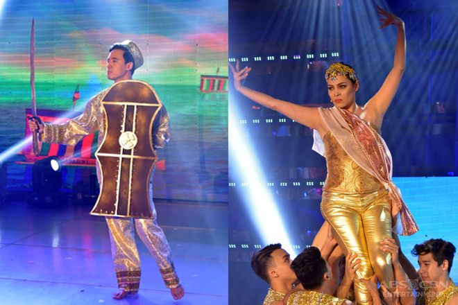 Hurados Erik Santos and K Brosas in a singkil dance number