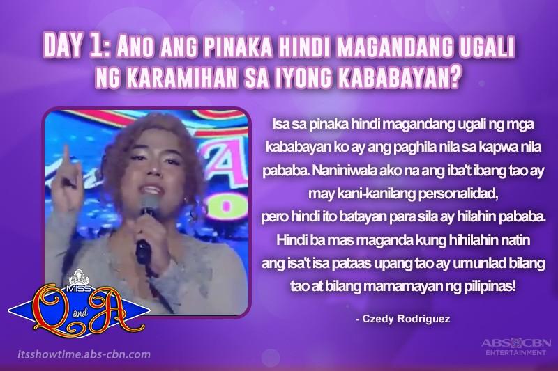 Balikan ang winning answers ng kauna-unahang Miss Q & A Intertalaktic 2019 Hall Of Famer na si Czedy Rodriguez