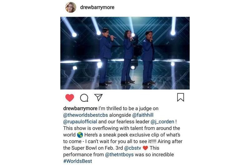 Drew Barrymore all praises for the TNT Boys in sneak peek of CBS The World s Best  2